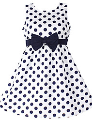 Girl's Blue Dress,Cotton Dot Sundress,Party Birthday