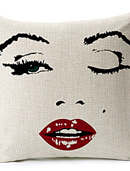 Classic Marilyn Monroe Face Patterned Cotton/Linen Decorative Pillow Cover