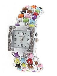 Women'ss Ellipse Dial Pearl Leather  Band Quartz Analog  Braceiet Watch Cool Watches Unique Watches