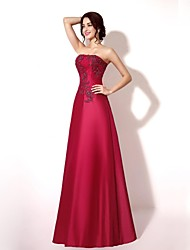 A-Line Strapless Floor Length Lace Taffeta Formal Evening Dress with Beading Appliques Lace