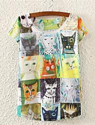 Damen Blumen Niedlich Ausgehen T-shirt,Rundhalsausschnitt Alle Saisons Kurzarm Mehrfarbig Baumwolle Mittel