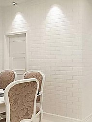 Contemporary White Brick Wallpaper Geometric Wall Covering PVC/Vinyl Wall Art