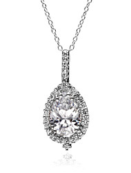 Teardrop 5A Cubic Zirconia Solid 925 Sterling Silver CZ Pendant Necklace 18""