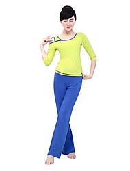 Mujer Yoga Tops Medias mangas Transpirable / Listo para vestir / Capilaridad / Compresión AmarilloYoga / Fitness / Deportes recreativos /