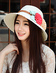 Women's Vintage/Casual Flower Summer Straw Hat