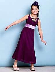 Ankle-length Chiffon Junior Bridesmaid Dress - Grape Sheath/Column Scoop