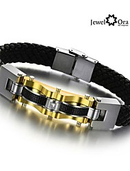 Luxury Brand Wholesale Golden Men Bracelet 316L Wrap Stainless Steel Charm Leather Bracelet