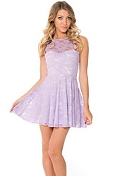 Women's Sexy Lace Micro elastic Sleeveless Above Knee Dress (Cotton Blends)