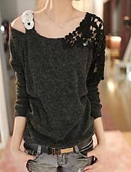 Women's Blue/Pink/Black T-shirt,Casual Asymmetrical Long Sleeve Beaded/Lace