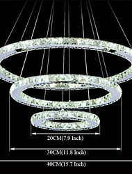 LED Crystal Chandelier Lights Lighting Lamps Transparent Crystal Round 3 Rings 20CM Plus 30CM Plus 40CM Fixtures