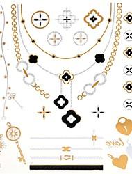 1PC New Metallic Gold Tattoos Temporary Tattoos Flash Tattoos Key Heart Wedding Party Tattoos(24*21.5cm)