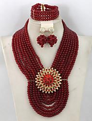 Fashion Burgundy Red African Beads Jewelry Set Costume Women Jewelry Set