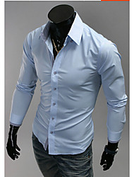 White Men's Fashion Long Sleeve Shirt
