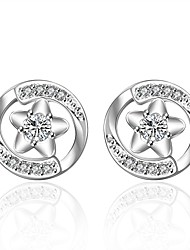 lureme®Fashion Style Silver Plated With Zircon Five-pointed Star Shaped Stud Earrings