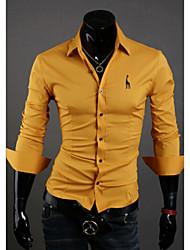 White Men's Fashion Fashion Embroidery Slim Long Sleeve Shirt