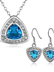joyería de platino plateado conjuntos collar aretes