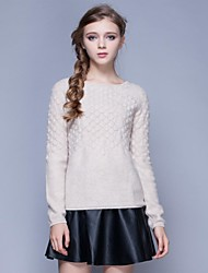 Freeshare 100% Cashmere Women Sweater of Original Design Girls' Thicken Pure Cashmere Creamy Sweater with Round Collar