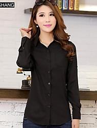 bs®women Casual / work / Übergrößen Mikro-elastische Langarm regelmäßigen Shirt (Baumwolle)