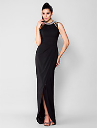 Sheath / Column Jewel Neck Asymmetrical Chiffon Evening Black Tie Gala Dress with Beading by TS Couture®
