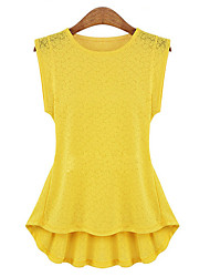 Women's Casual Solid White / Black / Yellow Lace Tanks,Round Neck Sleeveless