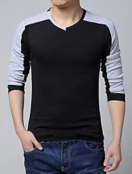 Men's Long Sleeve T-Shirt , Cotton Blend Casual Pure