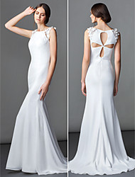 LAN TING BRIDE Trumpet / Mermaid Wedding Dress Simply Sublime Sweep / Brush Train Bateau Chiffon with Flower