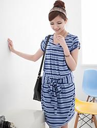 Women's Striped Bow Decoration Maternity Dress Nursing Breastfeeding Clothes