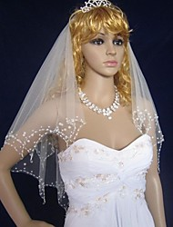 Wedding Veil Two-tier Elbow Veils Beaded Edge/Scalloped Edge