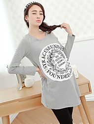 Women's Casual/Cute Micro-elastic Long Sleeve Long Maternity T-shirt (Cotton)
