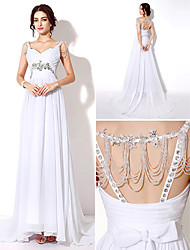 Sheath/Column Wedding Dress Sweep/Brush Train/Floor-length Straps