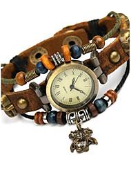 Women's Fashion Beaded Love Simple Retro Leather Bracelet Watch