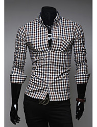 White Men's Fashion Cotton Classical Causal Slim Check Long Sleeve Shirt