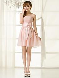 Homecoming Bridesmaid Dress Short/Mini Chiffon A-line Strapless Dress