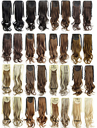 "Angelaicos Womens 22"" Long Curly Wavy Brown Black Blonde Ribbon Hair Ponytail Extensions Synthetic Hairpiece"