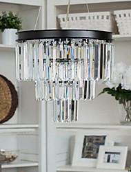"15.7"" Pendant Light 6 Lights Modern Black Pendant Light with Glass Lampshade Metal Glass"