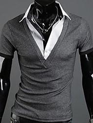 falsas camisas pólo manga duas peças curtas dos homens, design de moda tamanho grande ~!