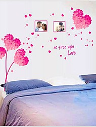 Removable Romantic Pink Loving Heart Bedroom/Living Room Wall Sticker