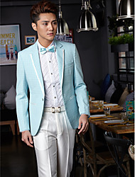 Tuxedos Tailored Fit Slim Notch One-Button Cotton/Polyester Patterns 2 Pieces White/Sky Blue