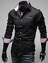 Men's Fashion Slim Lapels Long Sleeved Shirt