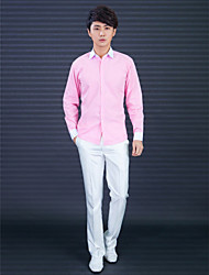 Shirts Classic (Semi-Spread) Long Sleeve Cotton/Polyester Solid Pink