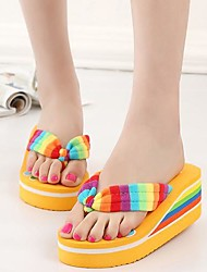 Women's Shoes Fabric Wedge Heel Platform/Flip Flops Sandals Casual Black/Blue/Yellow