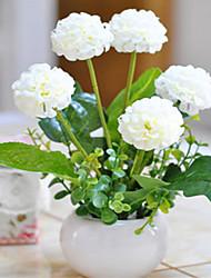 flores brancas hygrangeas artificiais com vaso