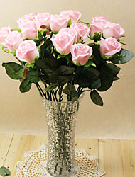 "20""L Set of 2 Queen Rose Silk Cloth Flowers Pink"