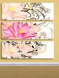 e-FOYER toile tendue fleur d'art peinture décorative ensemble de trois