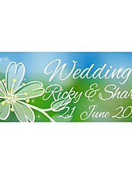 Personalized Wedding Product Labels Flower Pattern Green Film Paper