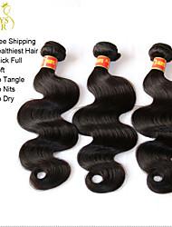 "3Pcs Lot 12-30"" Unprocessed Brazilian Virgin Hair Weft Body Wave Wavy Natural Black Human Hair Weave Bundles Tangle Free"