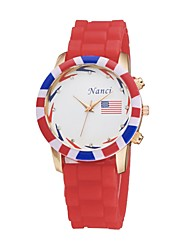 Women's Sports Watch Quartz Analog Flower Round Silicone Strap Fashion Jelly USA Flag Pattern Cool Watches Unique Watches