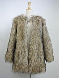 Fur Coats Fashion Long Sleeve Collarless Faux Fur Party/Casual Coat
