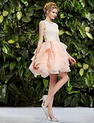 vestido de cuello princesa regreso a casa de la boda hasta la rodilla (encaje / organza) / vestido de fiesta / despedida de soltera