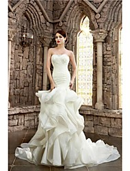 Mermaid / Trumpet Strapless Cathedral Train Lace Organza Satin Wedding Dress with Beading Appliques Cascading Ruffle by Ed Bridal